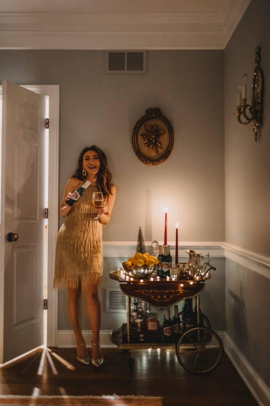 The gift of being present, stella artois beer, holiday party, gold fringe dress // Notjessfashion.com
