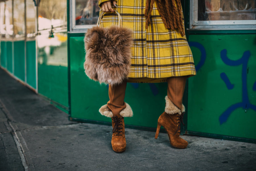 New York Fashion Blogger, yellow plaid coat, chunky scarf, fur handbag // Notjessfashion.com