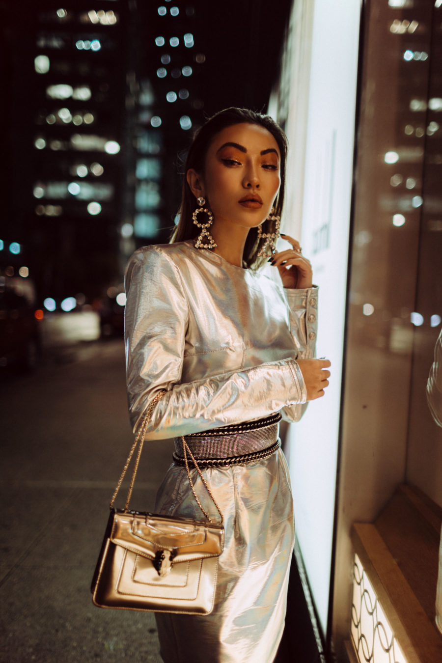 holiday trends for party season, holiday party outfit 2019, Metallic dress, metallic trend 2018, balmain silver dress // Notjessfashion.com