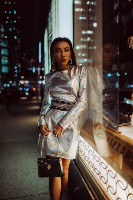 handbag trends for fall 2019, holiday trends for party season, holiday party outfit 2019, Metallic dress, metallic trend 2018, balmain silver dress // Notjessfashion.com