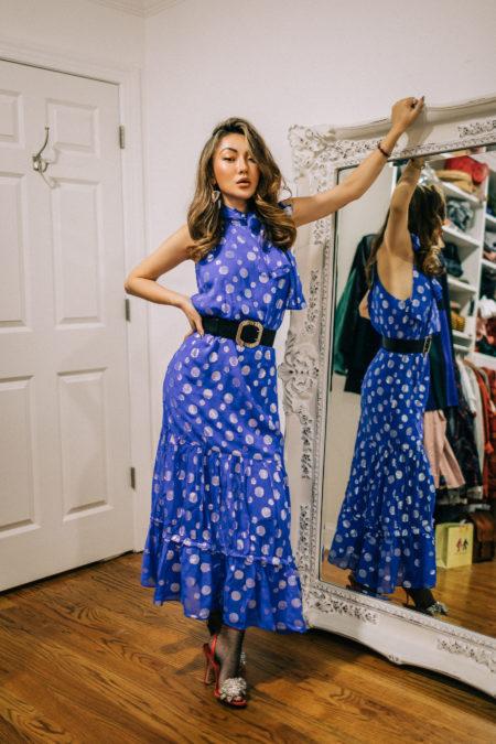evening looks, blue printed dress, halter neck dress, sheer tights and heels, glam voluminous waves // Notjessfashion.com