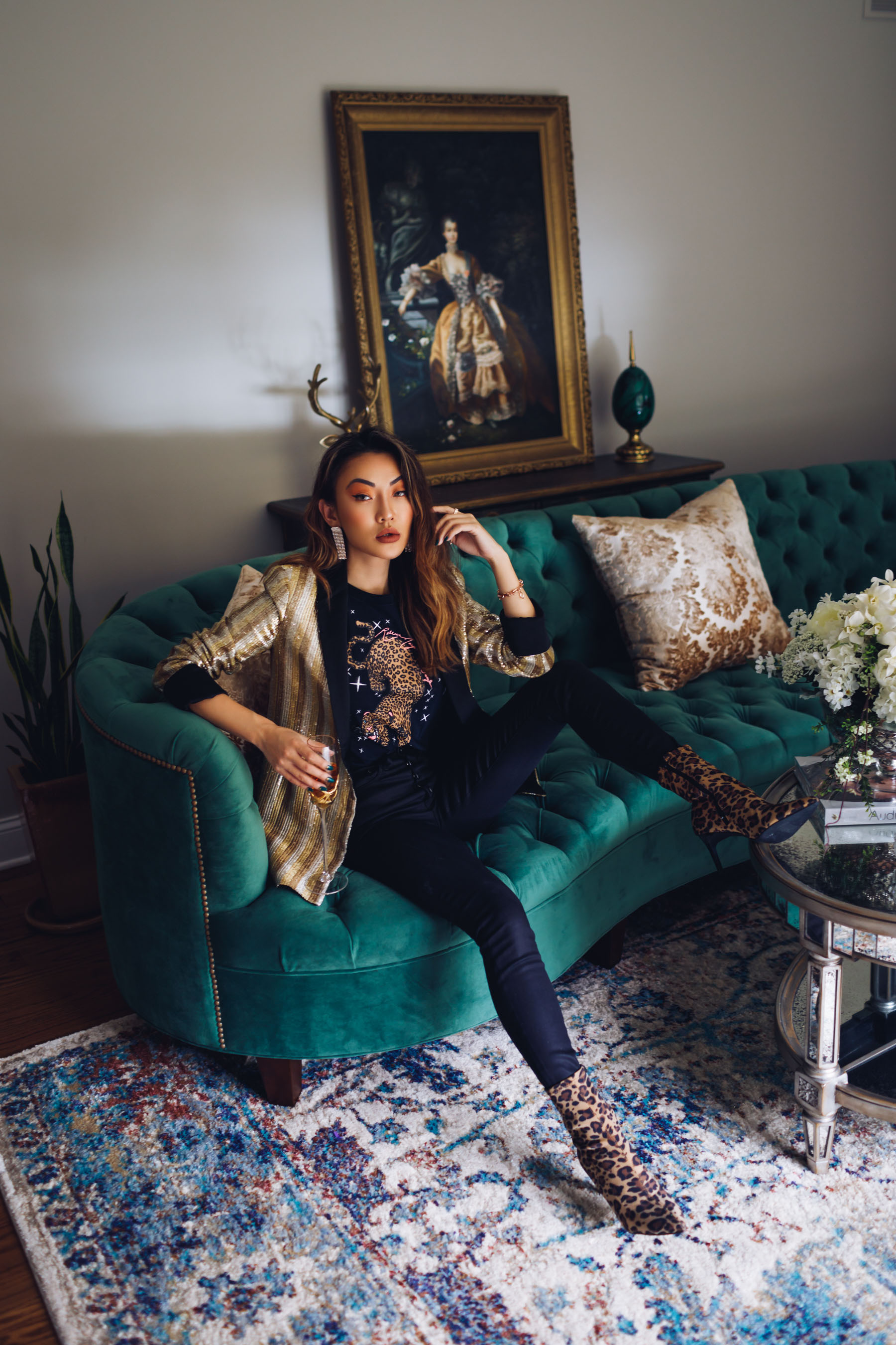 how to style a blazer, gold sequin blazer, metallic blazer outfit // Notjessfashion.com