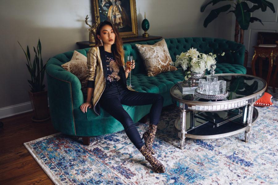 Winter Instagram Outfits - DSW Leopard Boots, Sequin Blazer, Crystal Drop Earrings // Notjessfashion.com