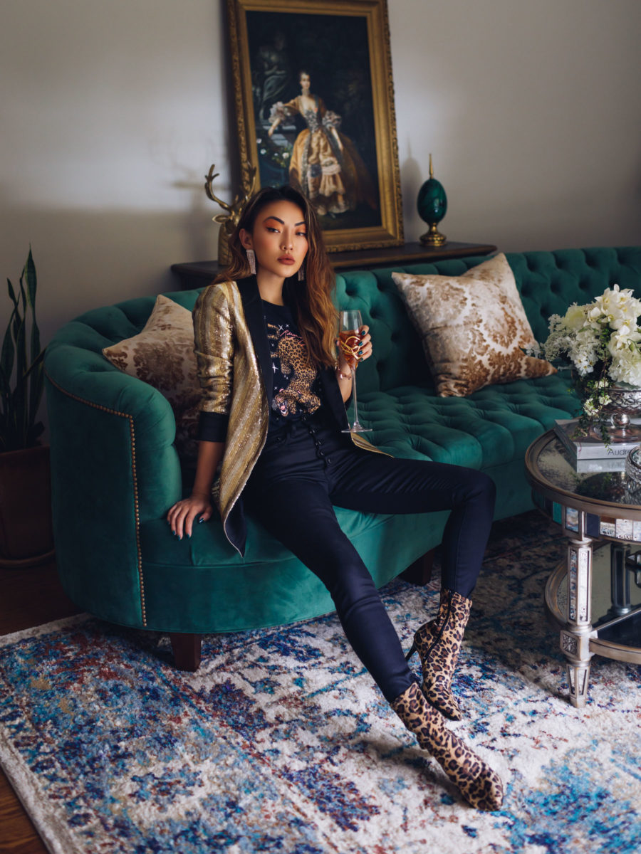 Trends I am ditching in 2020 - Alice + Olivia sequin blazer, leopard graphic tee, high rise skinny jeans, leopard print stretch ankle boots, Mignonne Gavigan jewelry // Notjessfashion.com