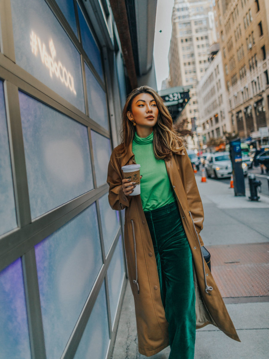how to look taller and slimmer - nyc career women, green tonal outfit, monochromatic green outfit // Notjessfashion.com