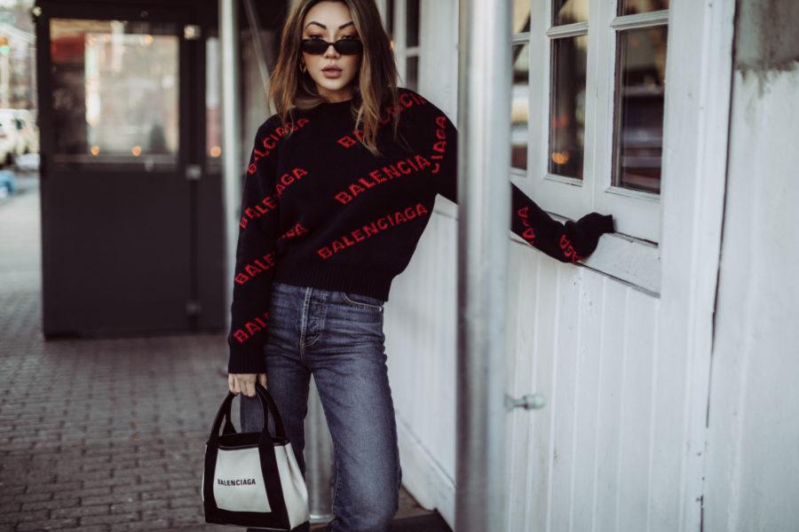 Must-Have Brands to Rock the Logomania Trend - Balenciaga Logo Sweater, Balenciaga Tote, Dakar Boots // Notjessfashion.com