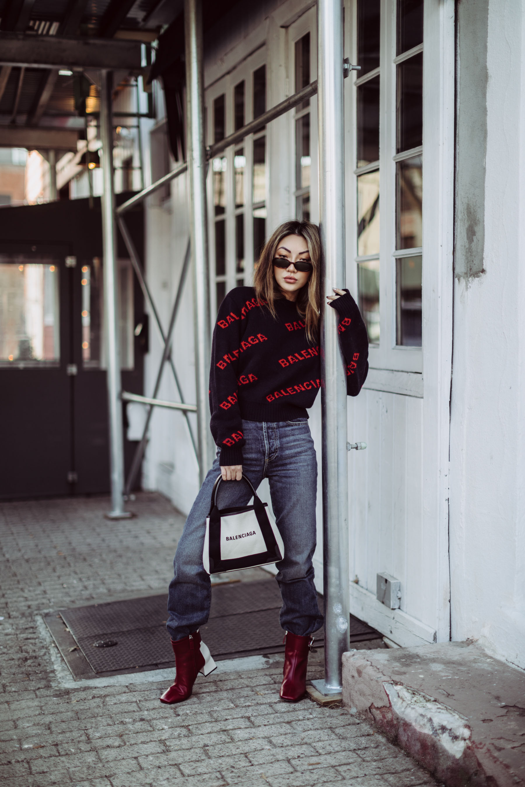 best fall 2019 boots, square toe boots, Balenciaga Logo Sweater, Balenciaga Tote // Notjessfashion.com