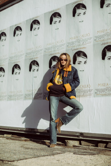 cozy chic items, sherpa jacket, denim on denim outfit 2019, 7fam denim jacket // Notjessfashion.com