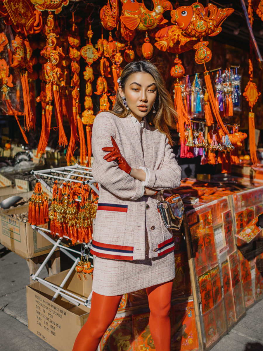 best things to do for chinese new year in nyc, chinatown nyc, What to wear for Chinese New year, Sandro tweed set, red tights, red leather gloves // Notjessfashion.com
