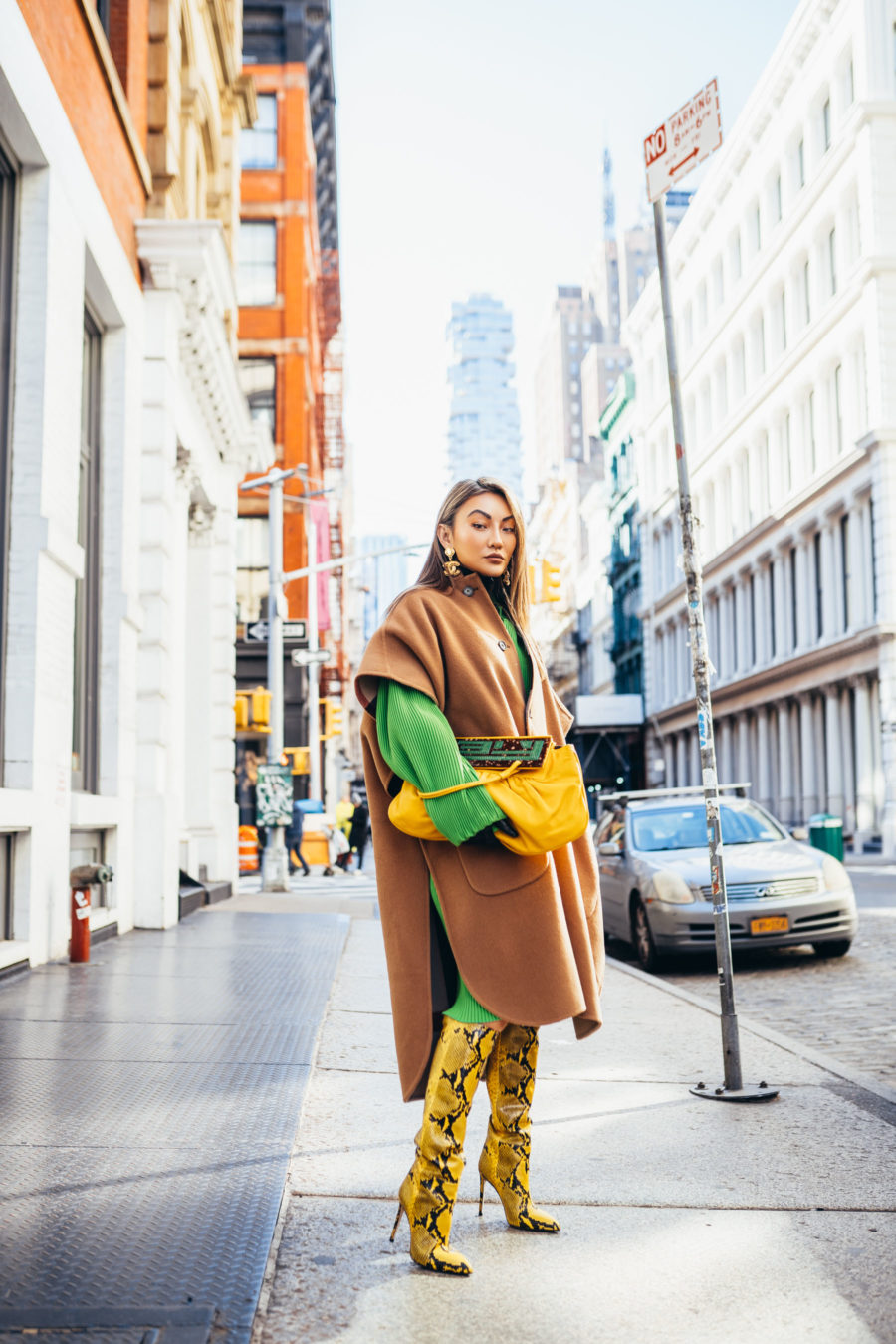 nyfw street style, nyfw spring 2019 street style, yellow snakeskin boots, burberry poncho // notjessfashion.com