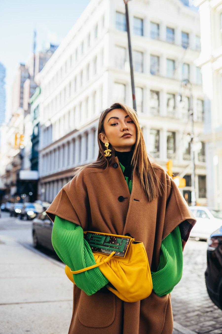 nyfw street style, nyfw spring 2019 street style, yellow snakeskin boots, burberry poncho // notjessfashion.com