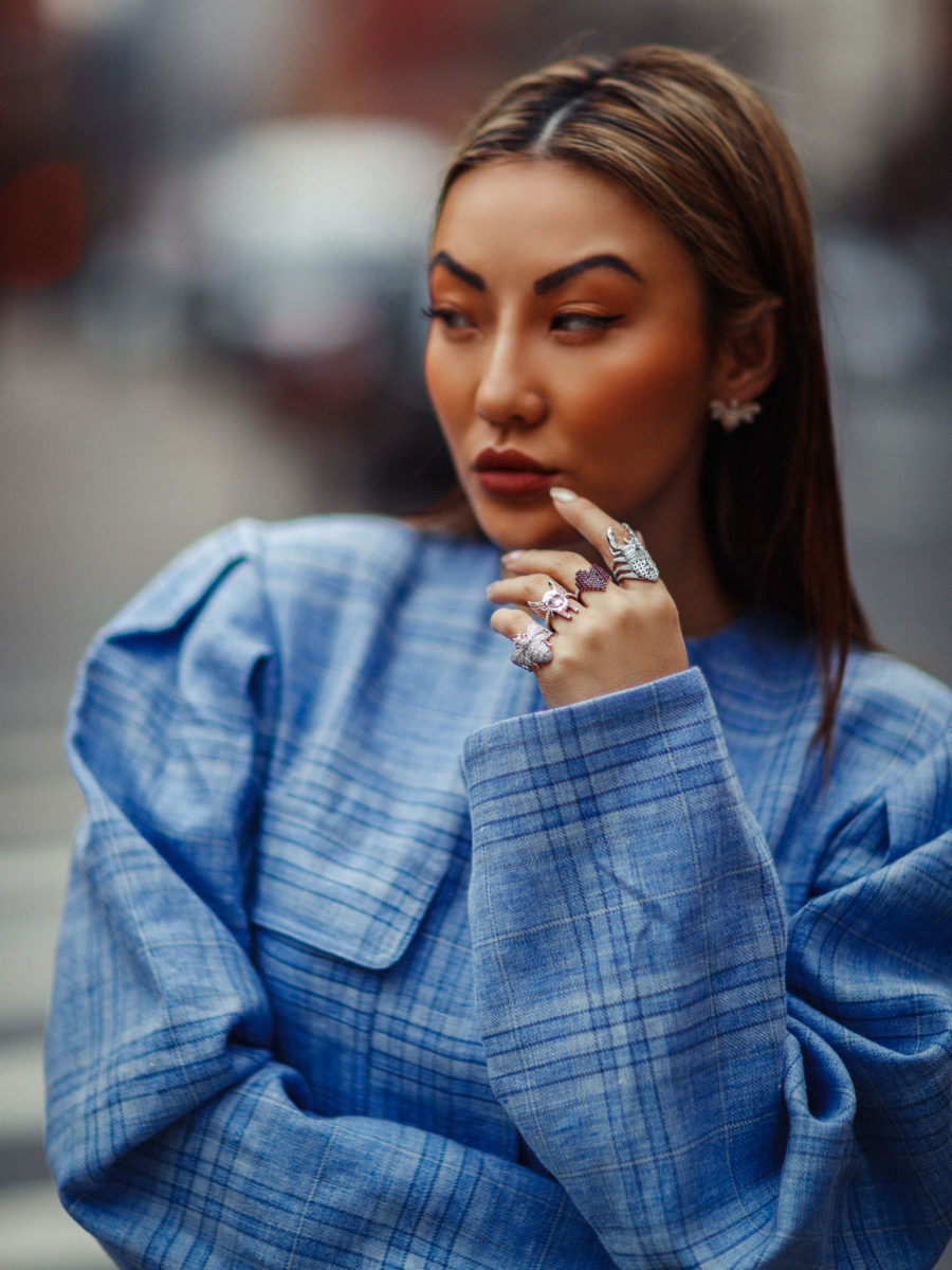 The Best Colors for Spring 2019, Colors fashion girls are wearing for spring, periwinkle fashion trend, light blue plaid dress // Notjessfashion.com