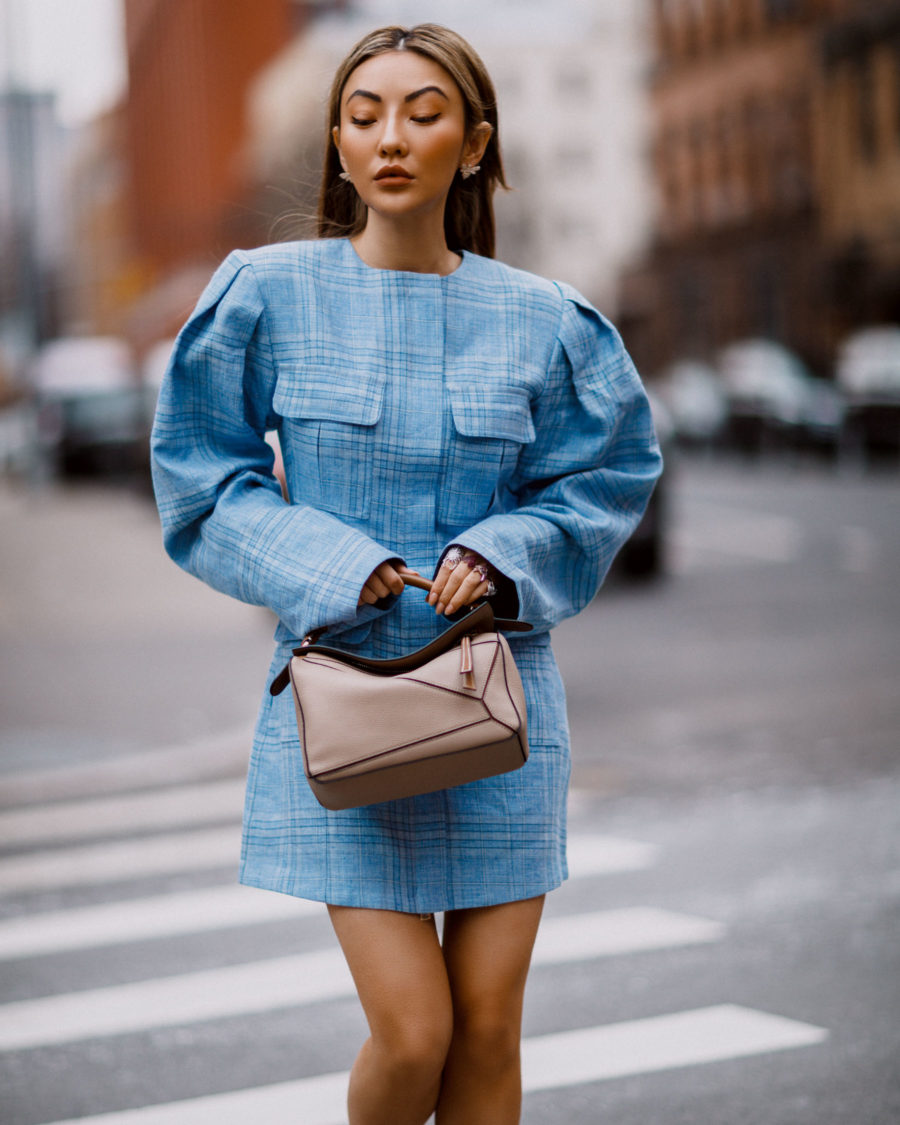 tips to make your closet more sustainable, blue plaid dress, loewe puzzle bag // Notjessfashion.com