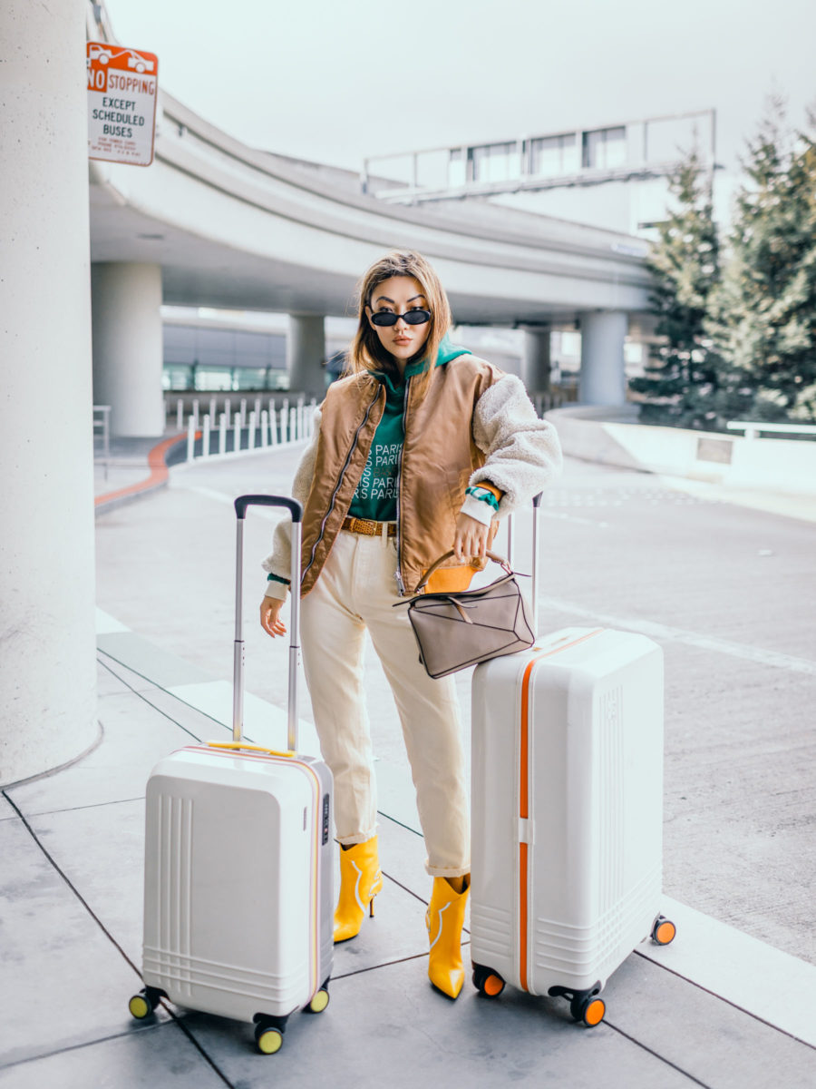 chic travel outfits, blogger travel outfits, loewe puzzle bag, roam luggage // Notjessfashion.com
