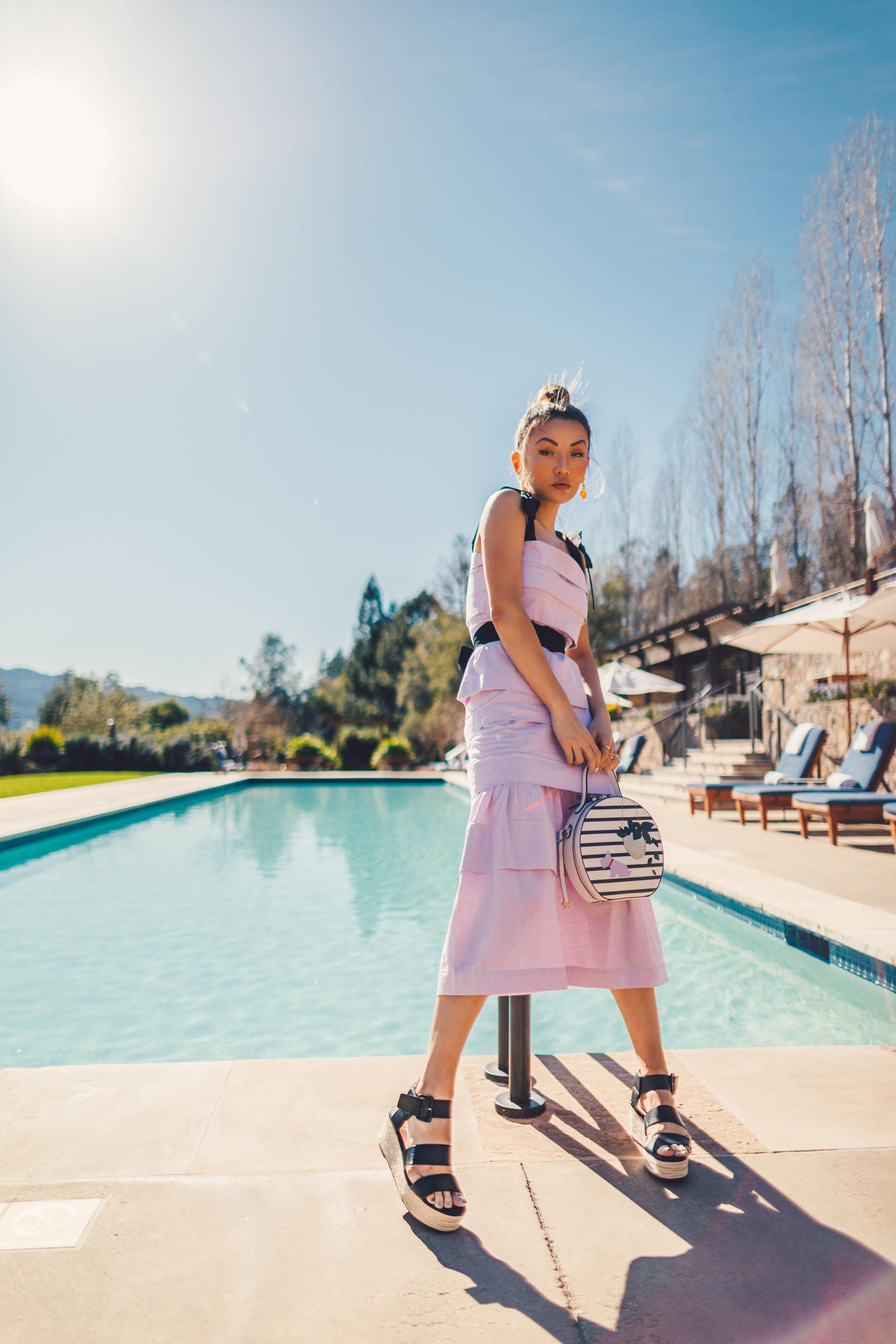 summer fashion trends 2019, chic summer outfit, ruffle skirt set, espadrille sandals // Notjessfashion.com