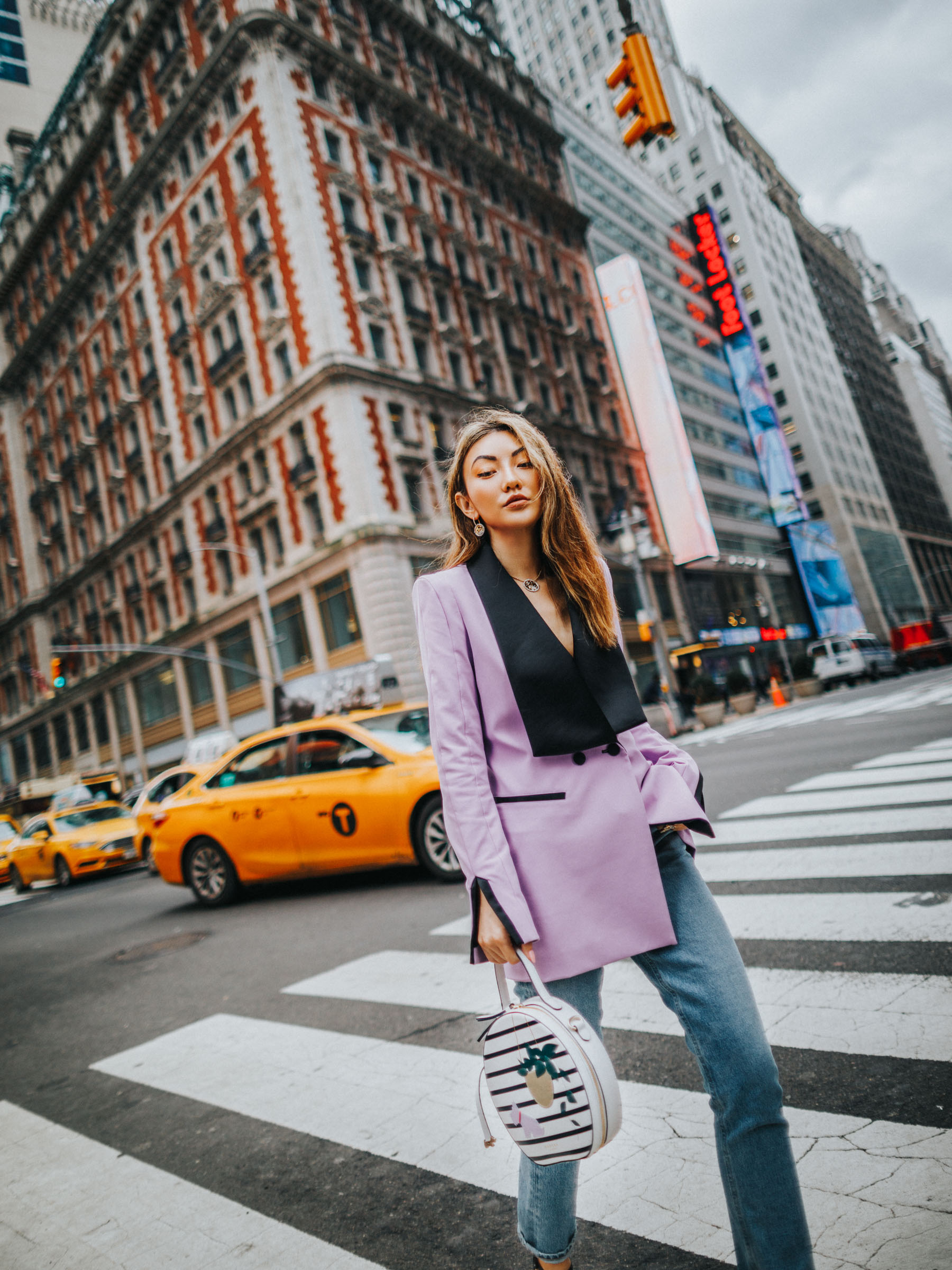 how to style a blazer, chic travel outfits, blogger travel outfits, lavender blazer // Notjessfashion.com