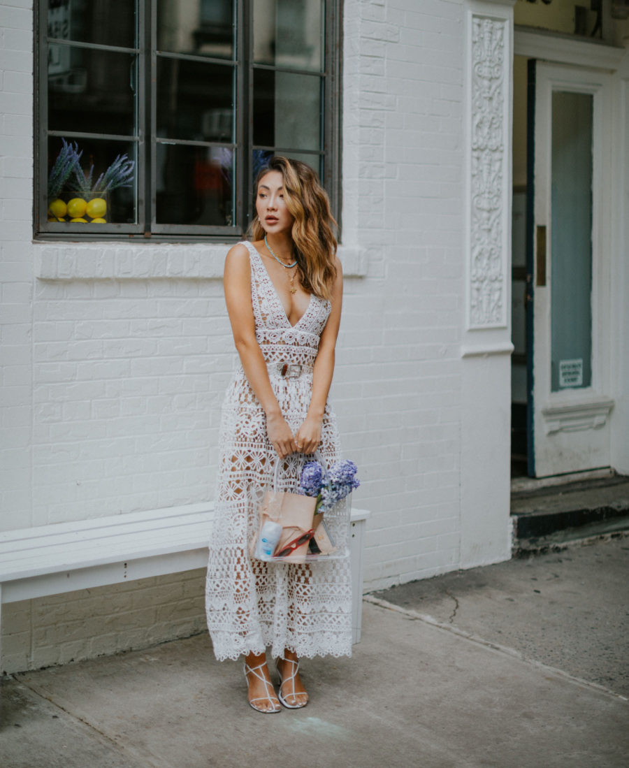 summer fashion trends 2019, white lace dress, naked sandals trend // Notjessfashion.com