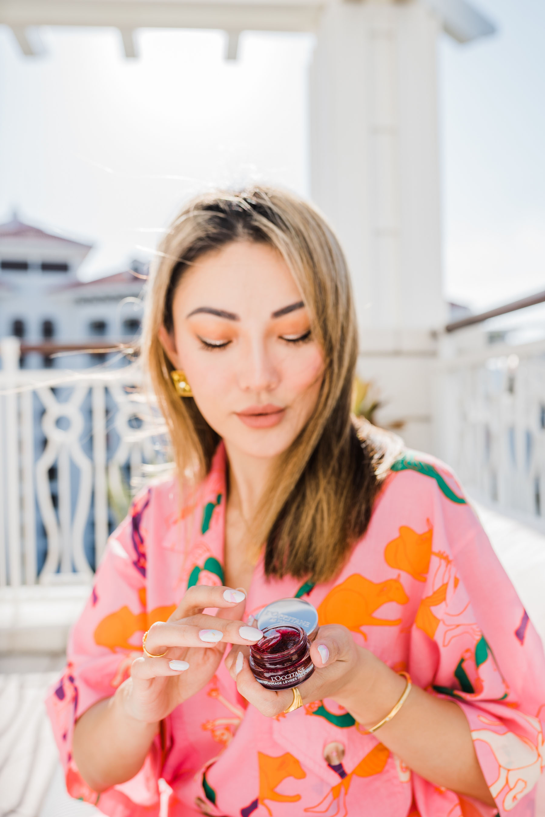 self-care products, l'occitane fruity lipstick, l'occitane lip products, tropical pjs // Notjessfashion.com