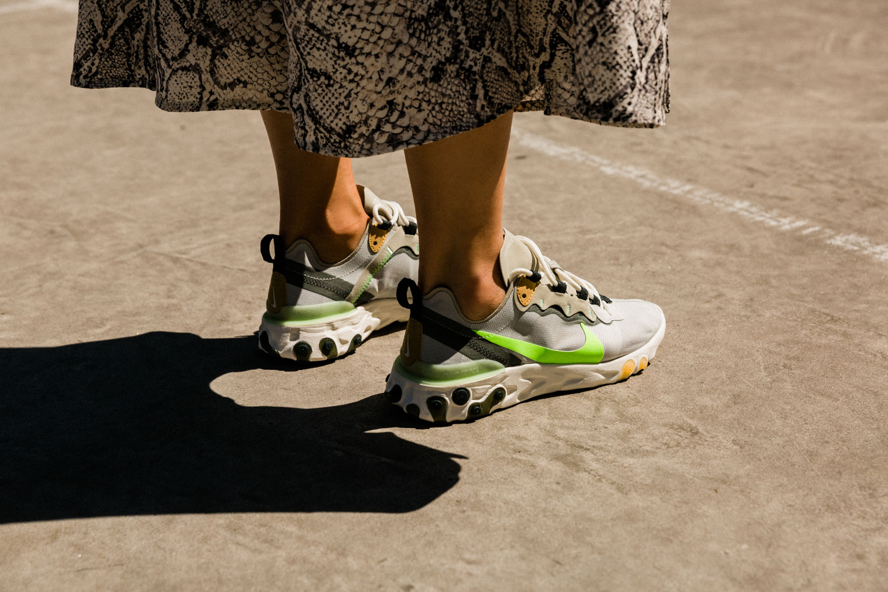 fashion sneakers, Nike React Element 55 sneakers, Nike React Element 55, dress with sneakers, snakeskin dress and sneakers // Notjessfashion.com