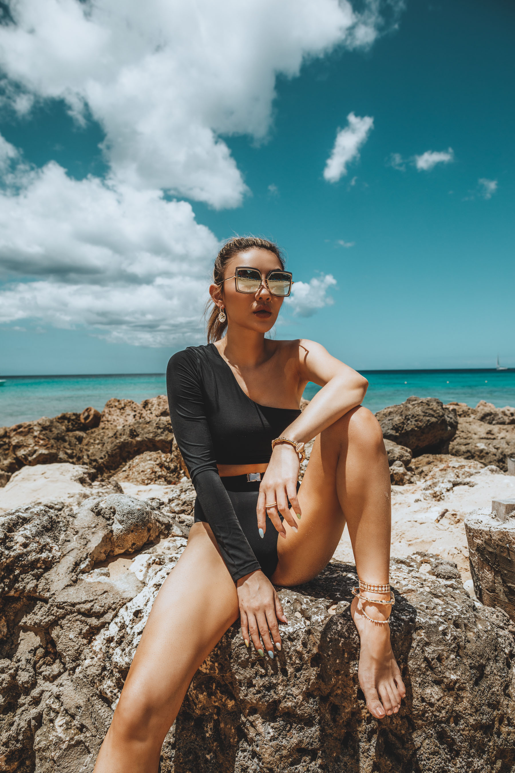 how to choose sunglasses for your face shape, Black Mira Bikini, Dita Eyewear Sunglasses, Eugenia Kim Hat, APM Monaco Jewelry // Notjessfashion.com