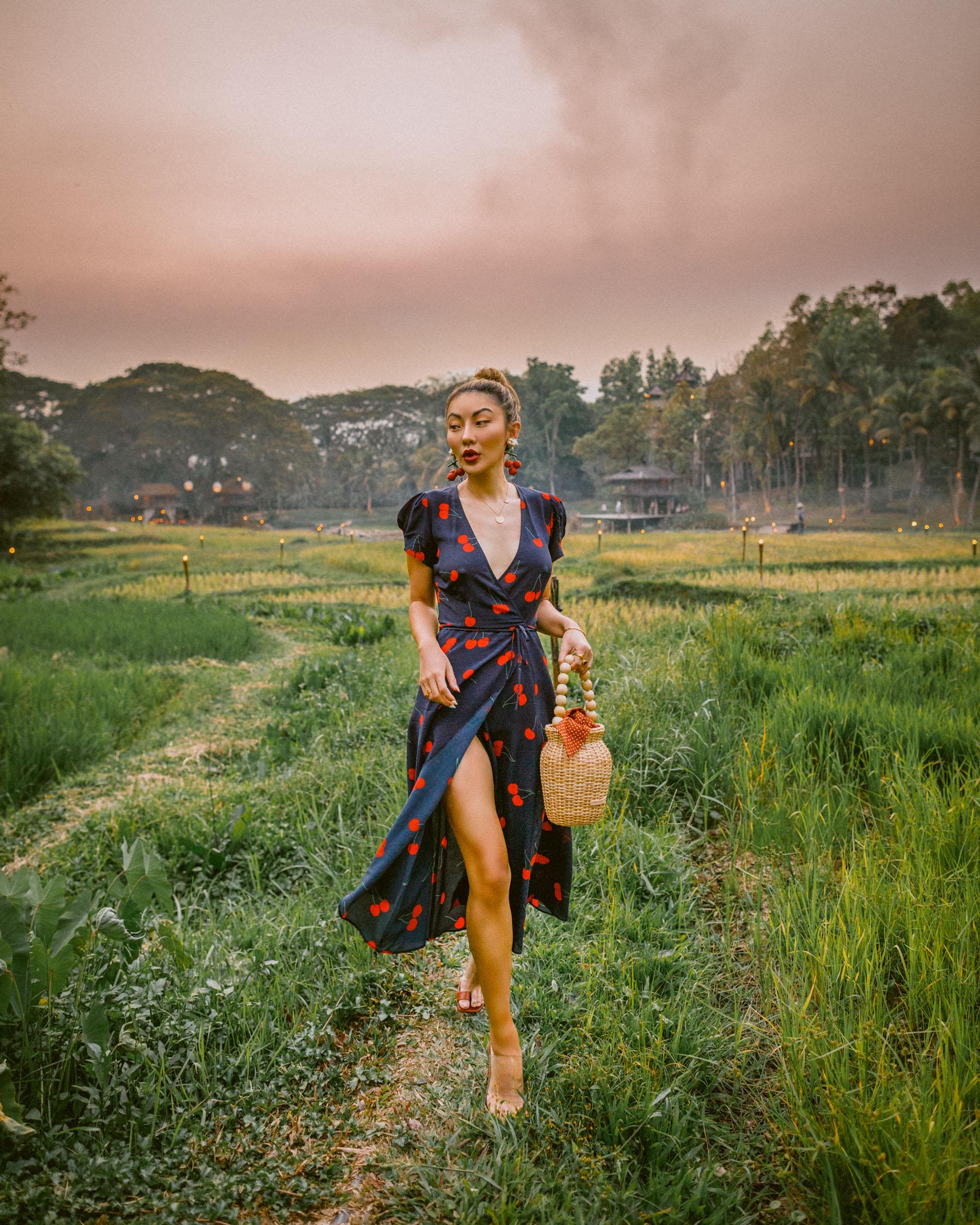 best fabrics to wear in the summer, cherry print wrap dress, realisation par dress // Notjessfashion.com