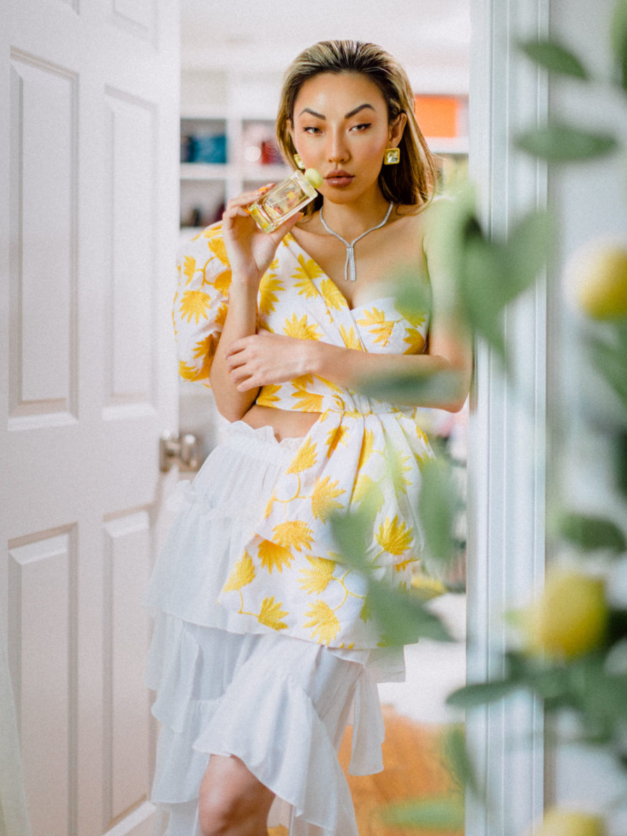 fashion blogger jessica wang wears yellow floral top with jo malone perfume // Notjessfashion.com