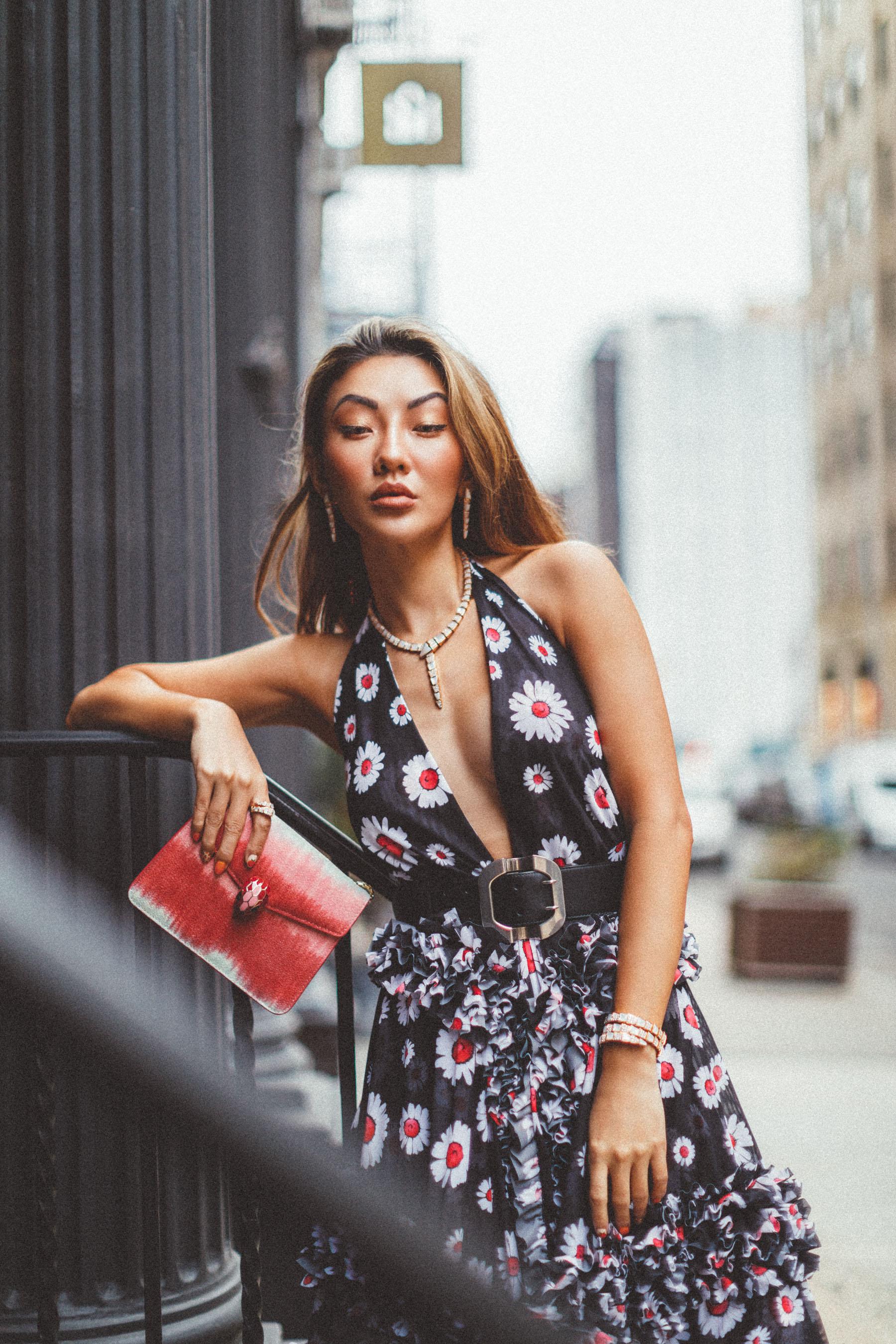plunging neckline printed dress, waist belt, favorite french fashion brands // Notjessfashion.com