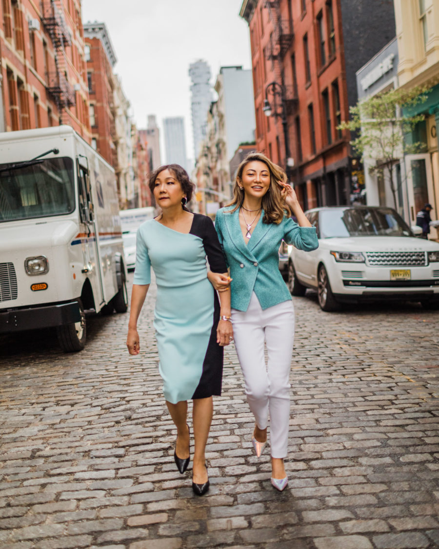 jessica wang shares ways to achieve your goals in 2019, fashion blogger jessica wang wearing St. John outfit with her mom for Mother's Day // Notjessfashion.com