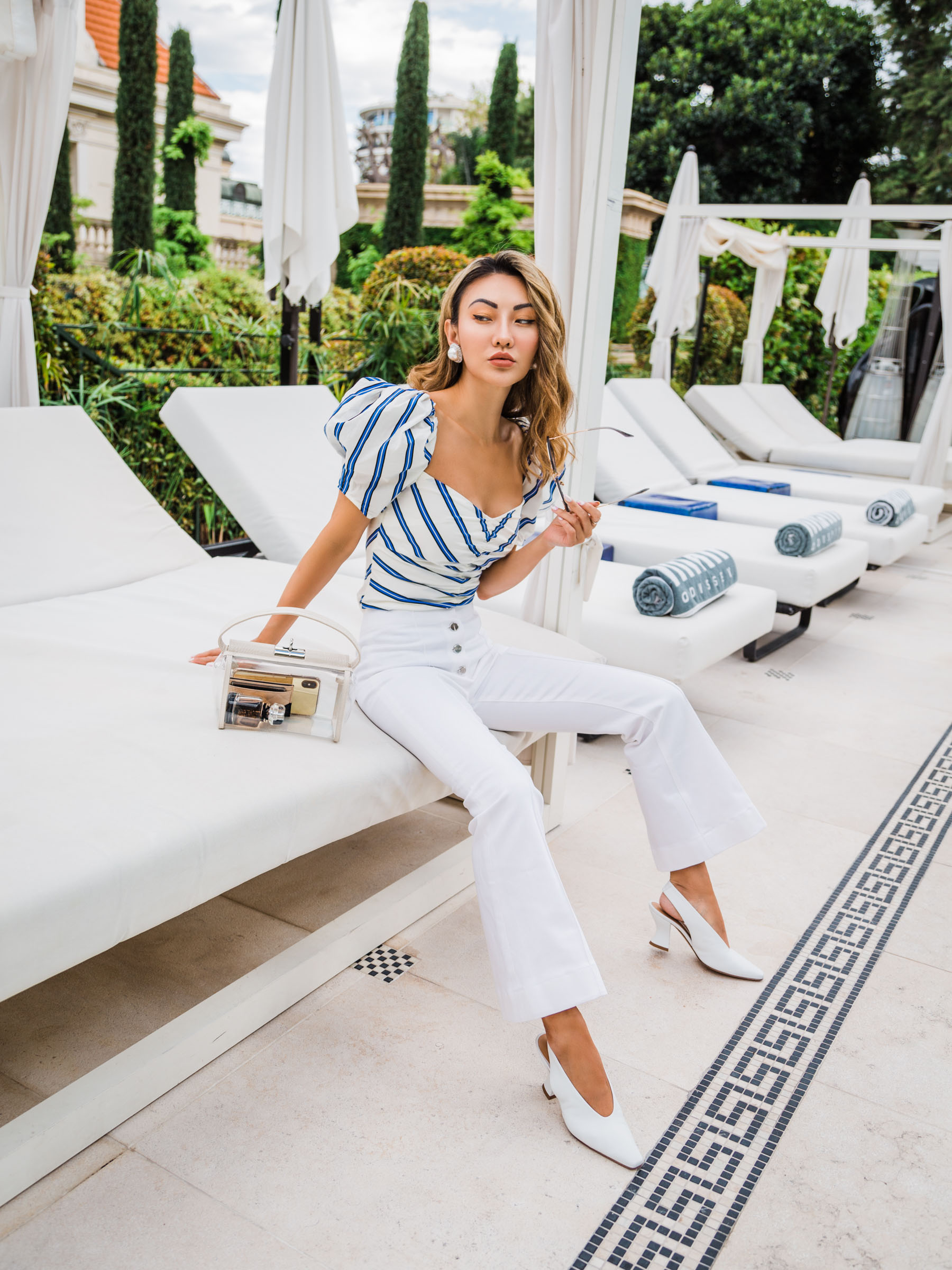 4th of july sales, white cropped jeans, july 4 outfits, white pumps, stripe blouse // Notjessfashion.com