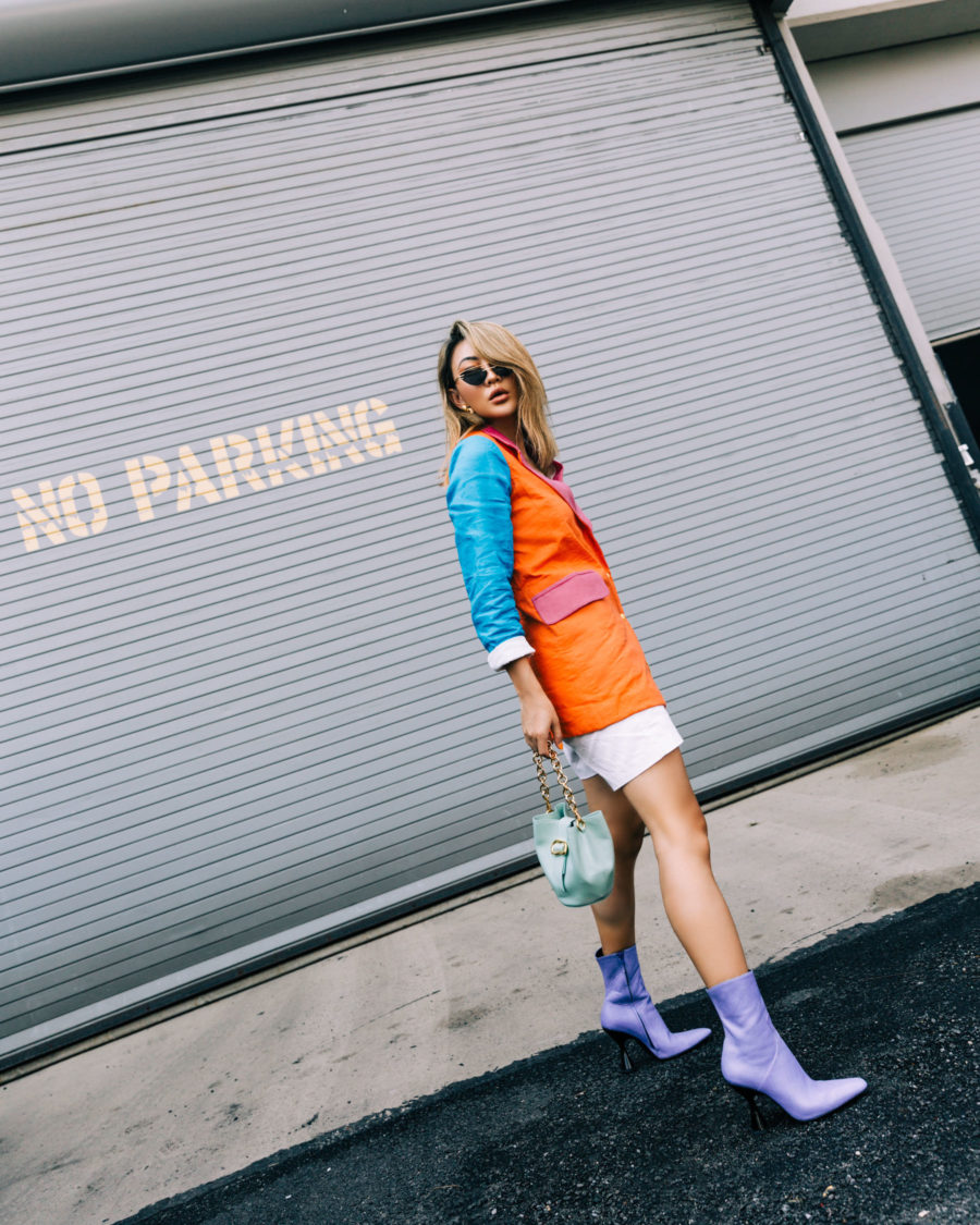 color block blazer and lavender boots // Notjessfashion.com