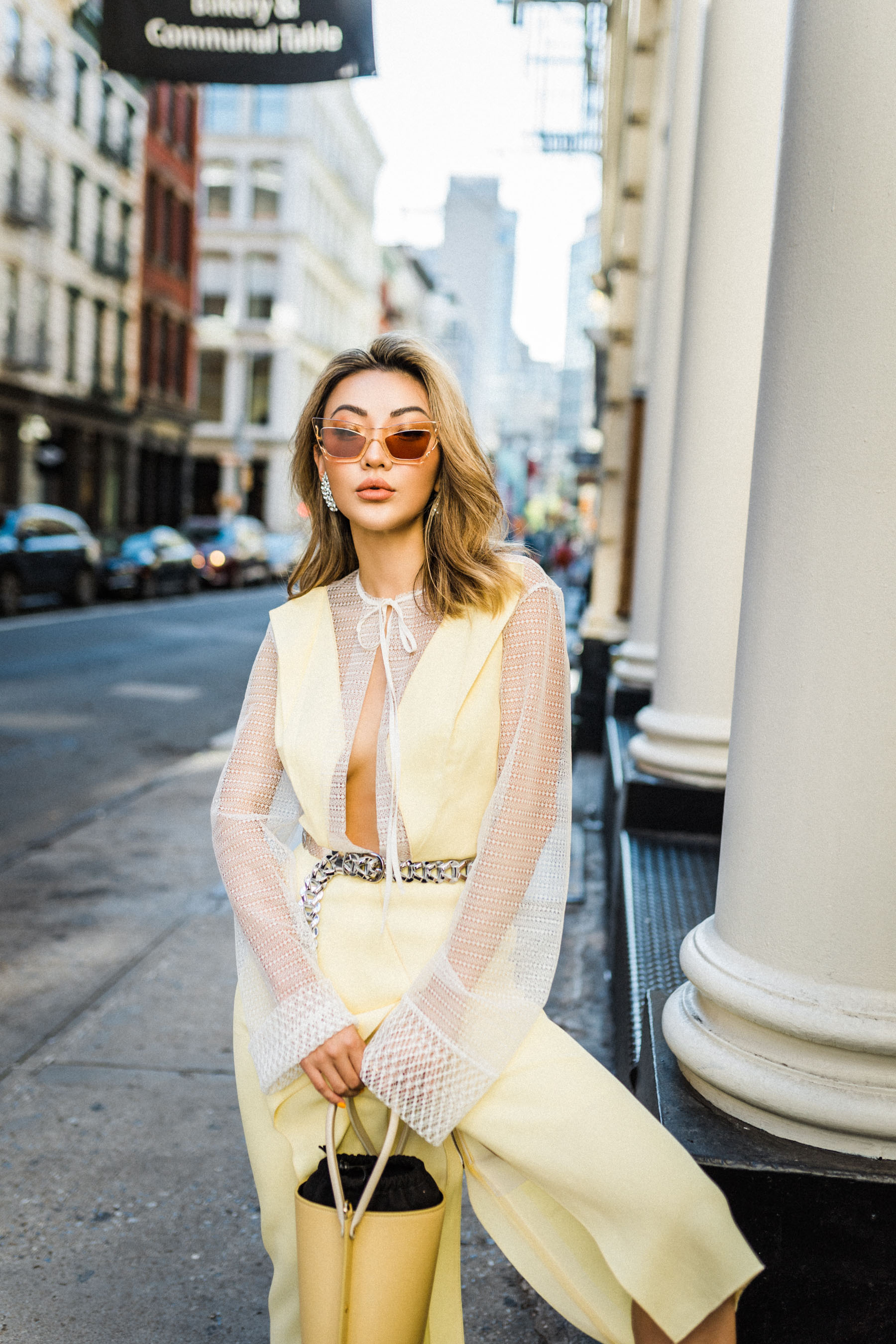 sheer fashion trend, sheer yellow dress, white slingback pumps // Notjessfashion.com