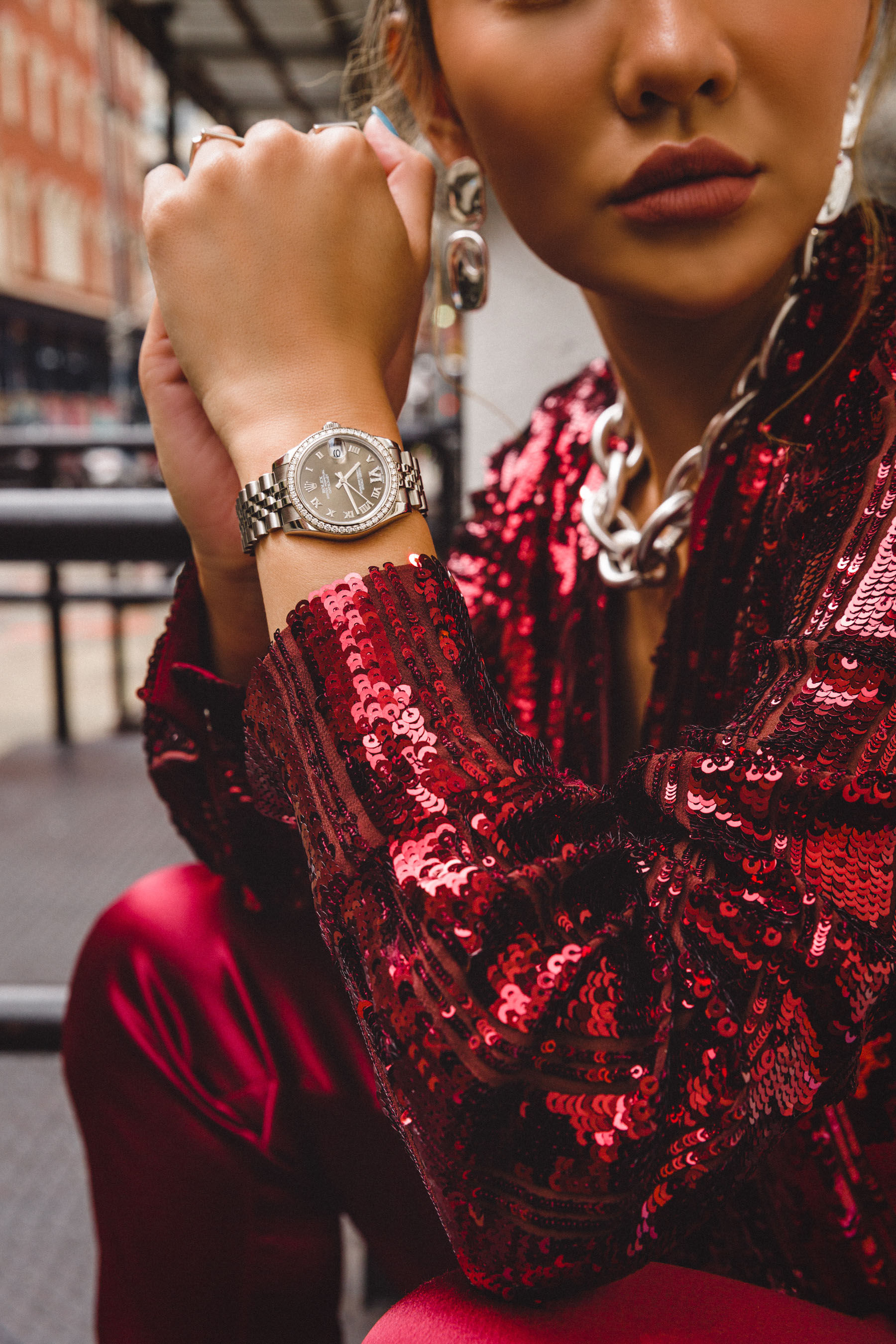 reasons to buy a luxury watch, rolex watch, red sequin top, nyfw street style // Notjessfashion.com