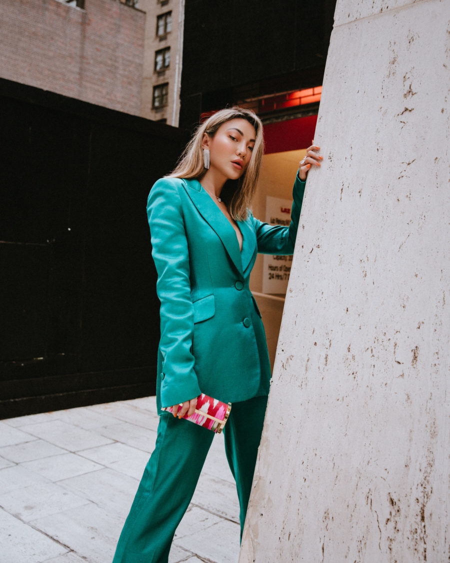 fashion blogger jessica wang wears green power suit and shares tips on how to level up in the workplace // Notjessfashion.com