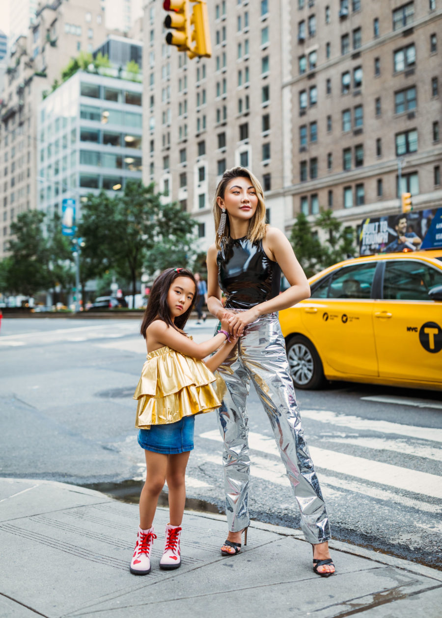 fashion blogger jessica wang shares chic christmas outfits for every day of the week in patent leather pants and Sergio Rossi sandals // Notjessfashion.com