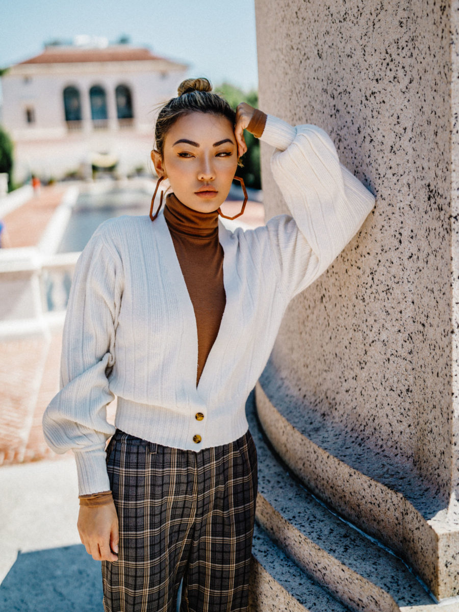 fashion blogger jessica wang wears express cardigan layered over a turtleneck top // Notjessfashion.com
