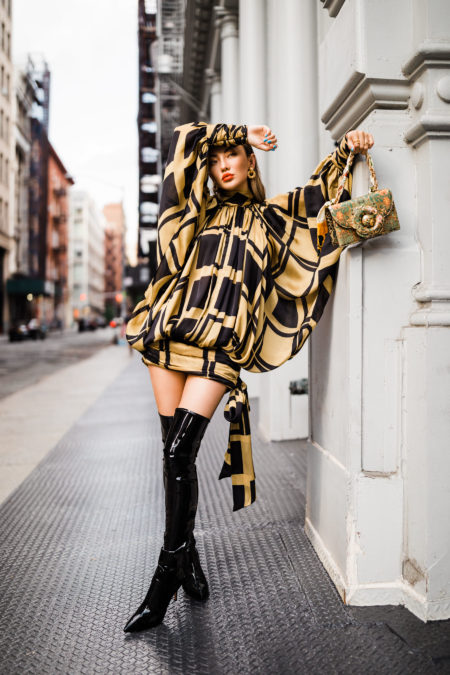 patent leather over the knee boots, fashion week street style, fall outfit inspiration // Notjessfashion.com