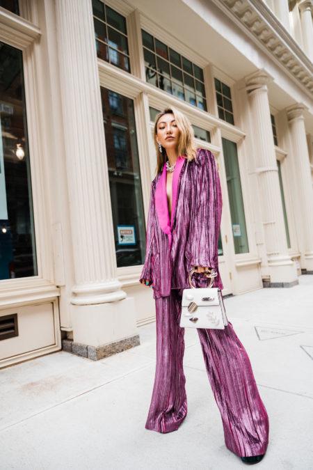 pieces that photograph well, sequin suit, sequin wide leg pants, nyfw street style // Notjessfashion.com