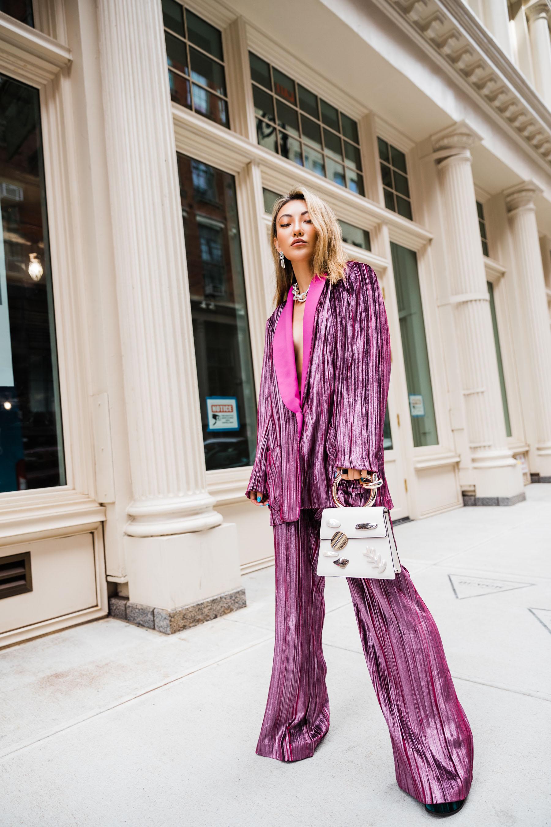 nyfw ss20, mpink shimmery suit, velvet pants, pink velvet blazer, nyfw street style // Notjessfashion.com