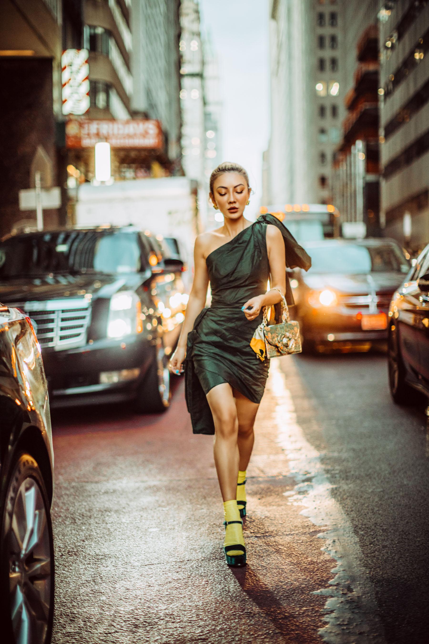 one shoulder dress, socks and sandals, nyfw ss20, oscar de la renta street style // Notjessfashion.com