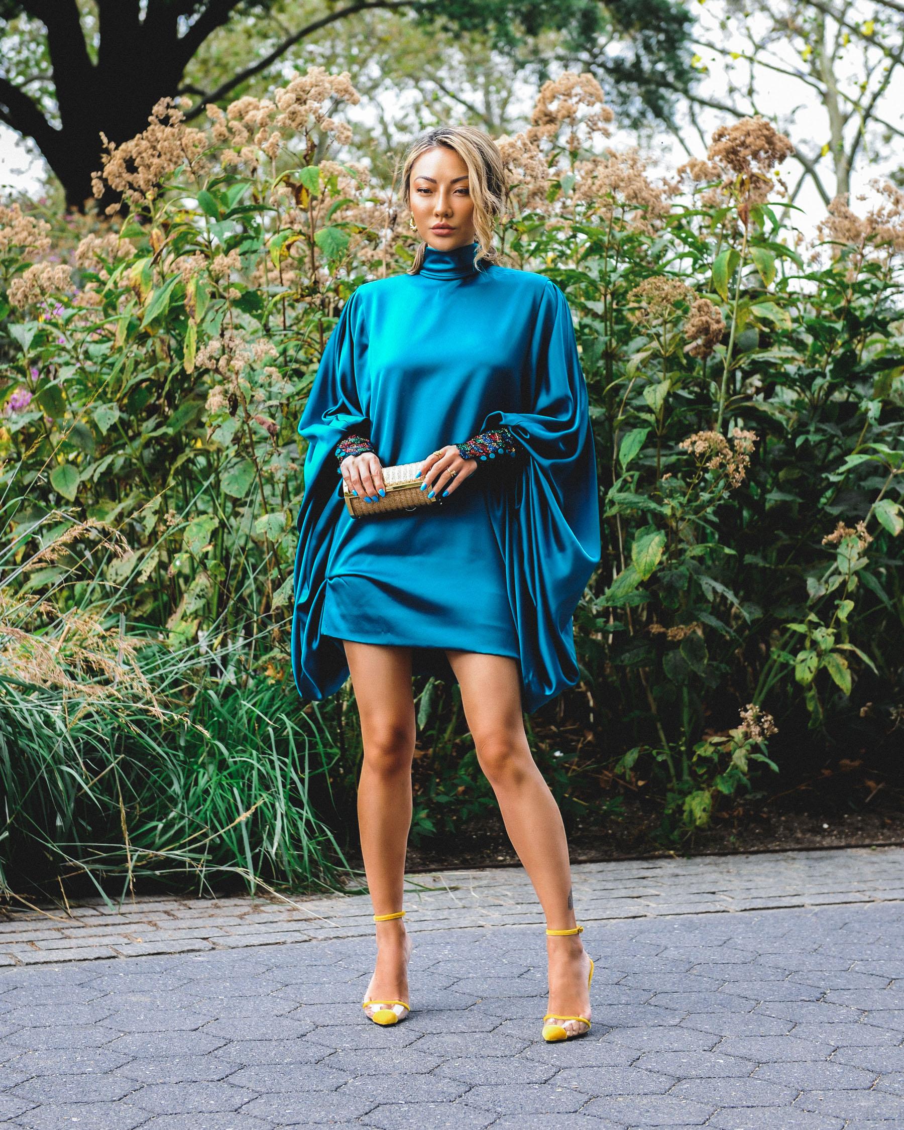 nyfw ss20, blue carolina herrera dress, nyfw street style // Notjessfashion.com
