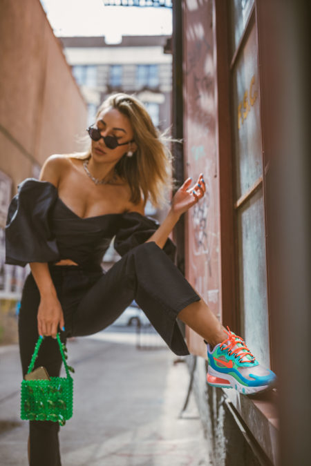 pieces that photograph well, nike airmax react sneakers, flared pants, off the shoulder top // Notjessfashion.com