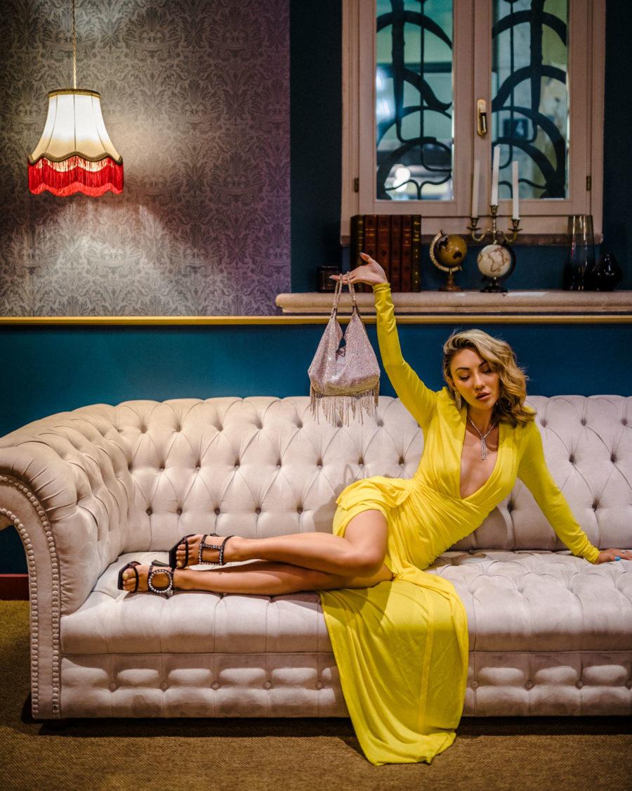 evening looks, yellow dress, jeweled heels // Notjessfashion.com