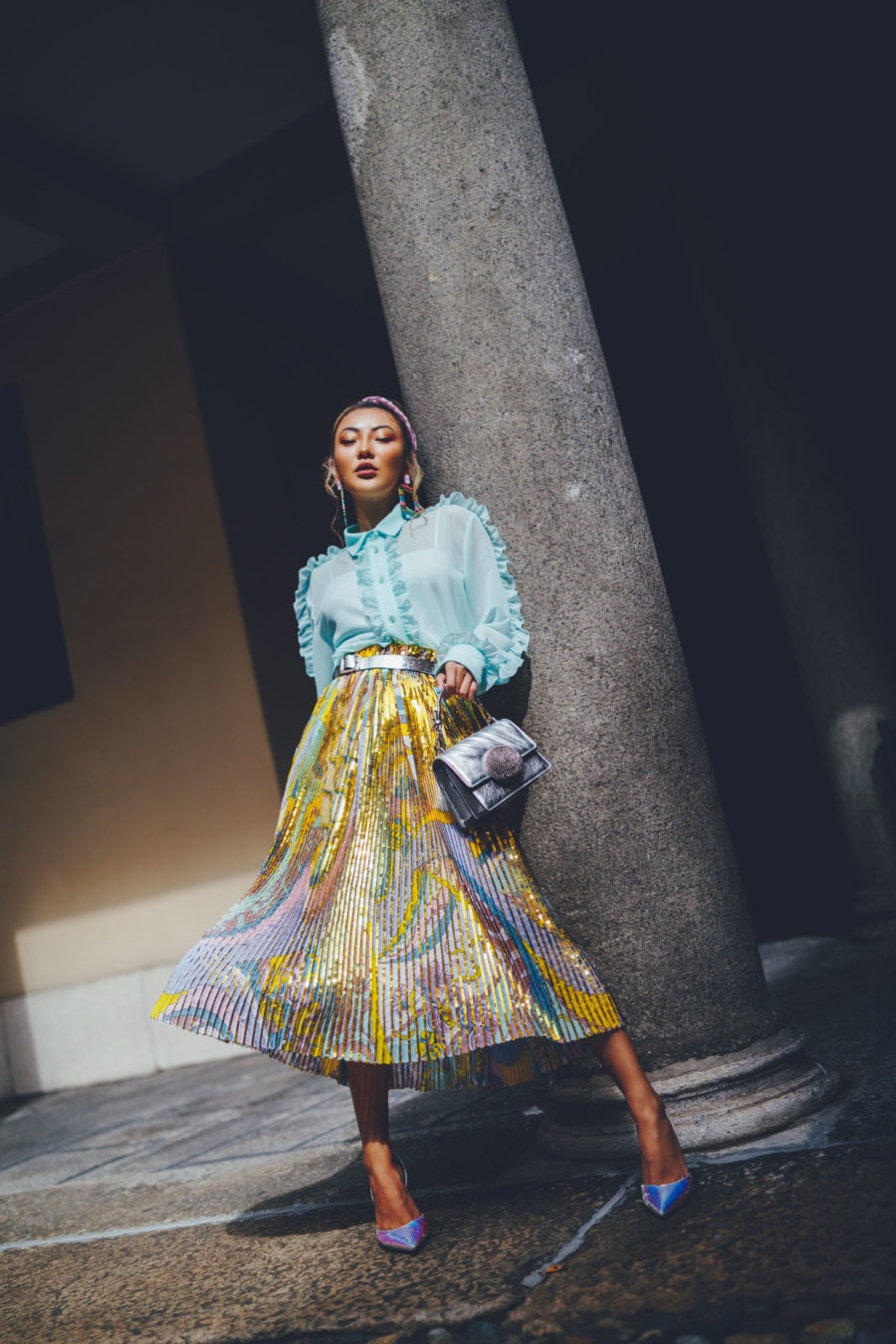fashion blogger jessica wang wears pleated skirt with amina muaddi heels and shares her favorite fashion brands of 2020 // Notjessfashion.com