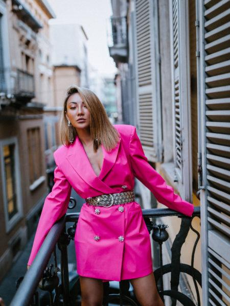 evening looks, fuchsia dress, hot pink dress, blazer dress // Notjessfashion.com