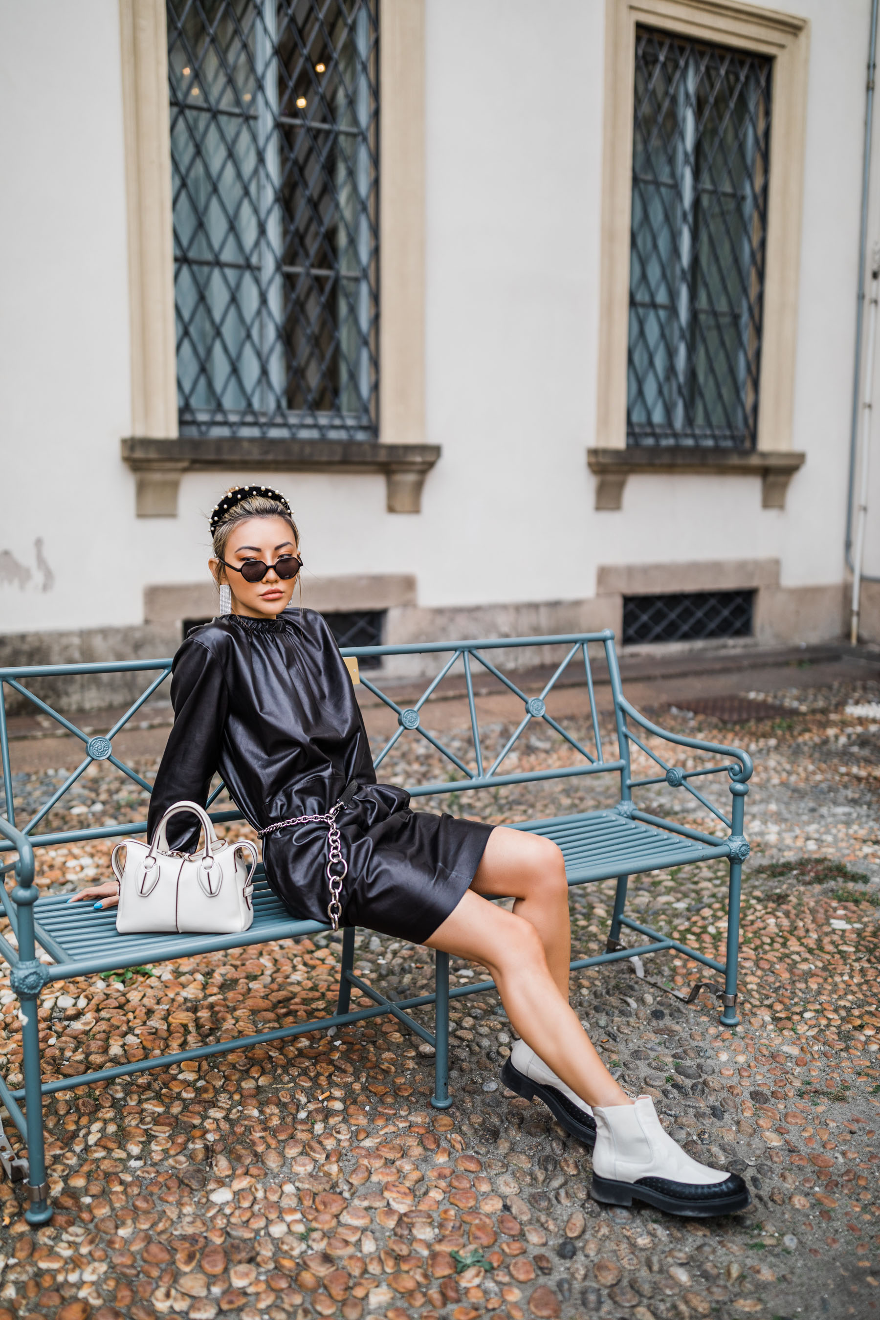 tod's leather mini dress, tod's ankle boots, tod's mini tote, illesteva sunglasses, jennifer behr beaded headband // Notjessfashion.com