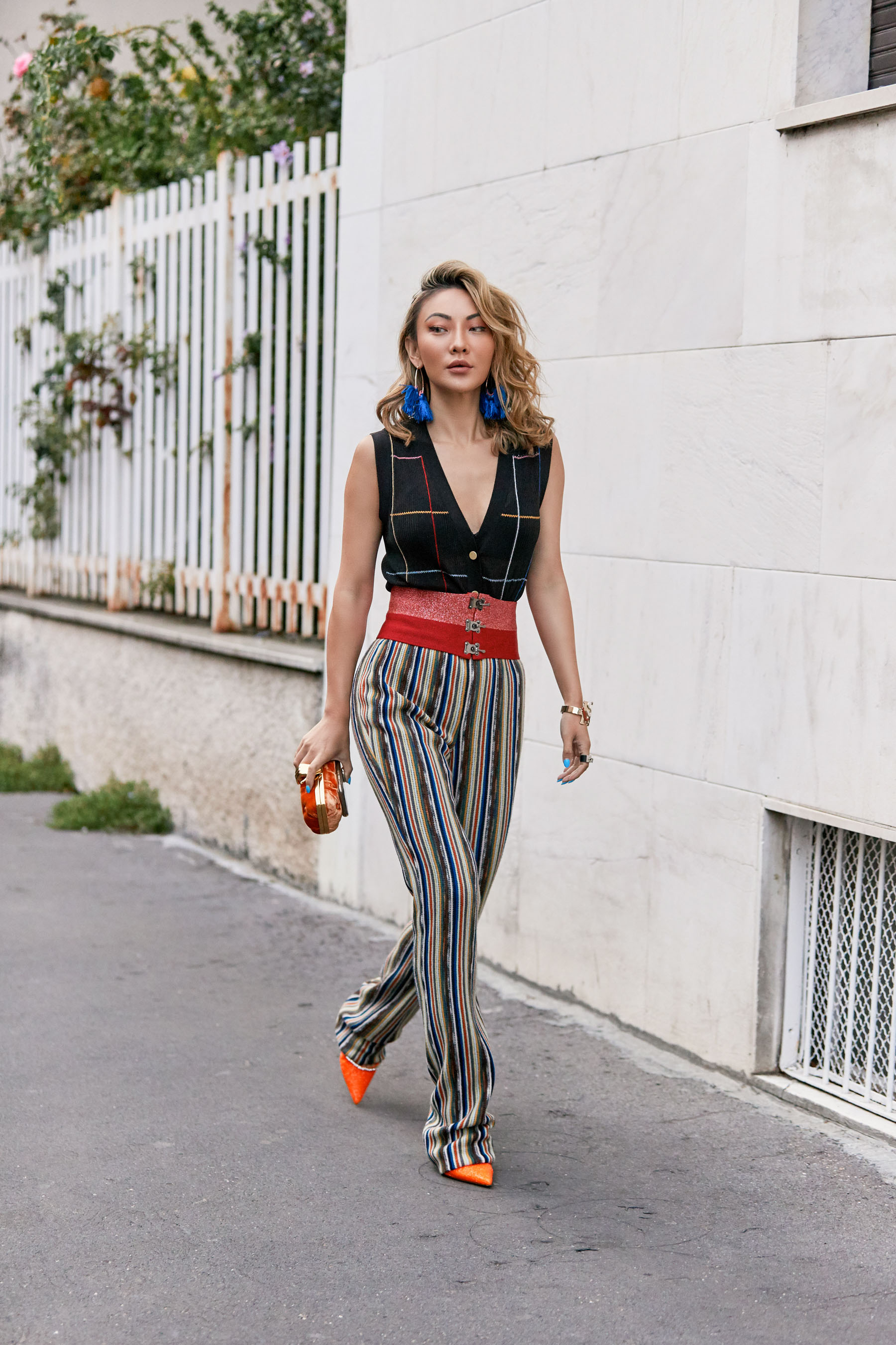 fashion week questions, Missoni Ribbed Knit vest, Missoni corduroy pants, amina muaddi mules, missoni tassled hoop earrings, missoni waist belt // Notjessfashion.com