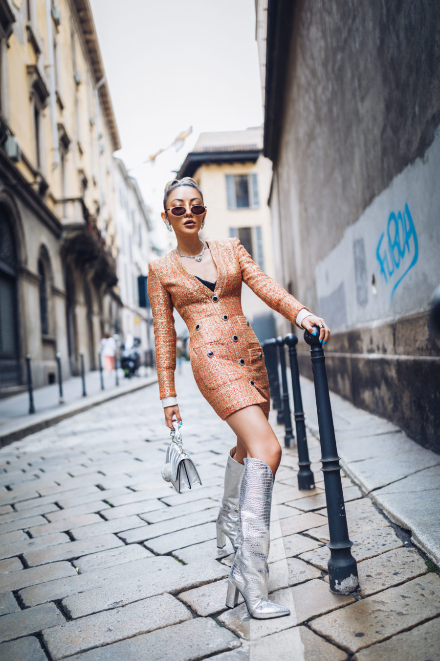 evening looks, tweed dress, metallic boots, croc embossed boots, blazer dress trend // Notjessfashion.com