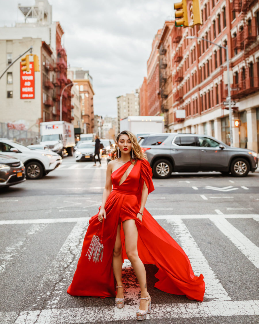 fashion blogger jessica wang wears Ong-Oaj Pairam gown with Rene Caovilla Heels // Notjessfashion.com