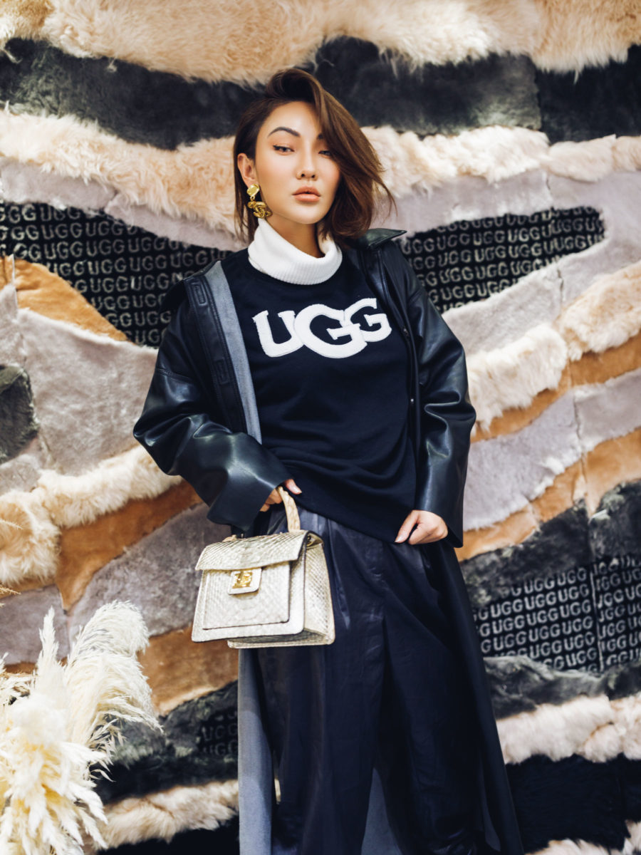 fashion blogger jessica wang wears ugg sweatshirt and leather jacket while sharing the best pre-black friday sales 2019 // Notjessfashion.com