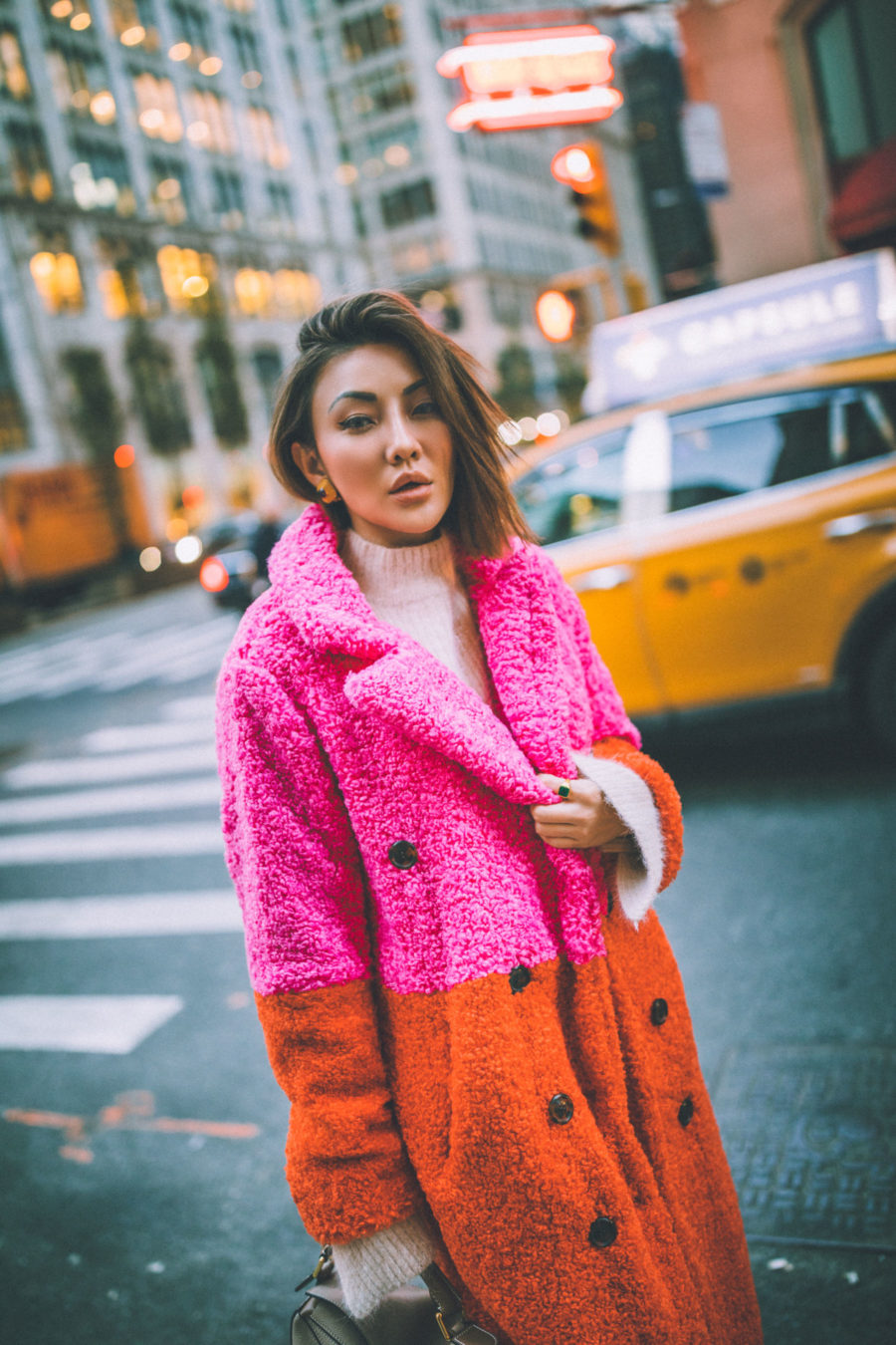 fashion blogger jessica wang shares holiday gift guide for the whole family wearing colorblock coat and white boots // Notjessfashion.com